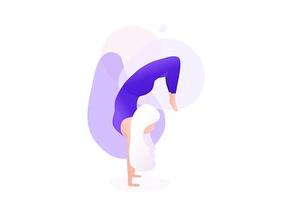 The Scorpian vector purple stretch woman girl people design colour pose illustration yoga