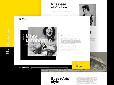 99pi Miss Manhattan layered trendy landing detail web helvetica typography bold modern webdesign podcast 99pi layout simple design clean minimal ui