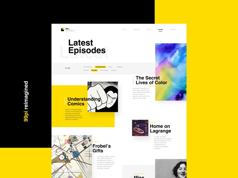 99pi Episodes categories redesign website listing podcast 99pi modern trendy overlapping webdesign branding layout simple design clean minimal challenge ui