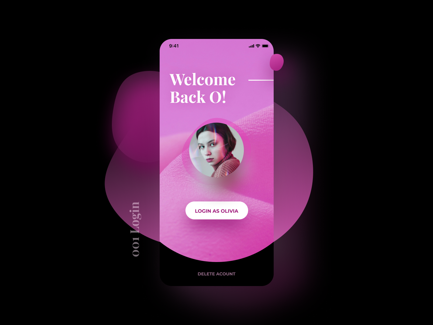 ✨Daily Design ✨ 001 Login trendy futuristic playfair display playful modern layout rounded soft gradient pink blob vector colourful card clean simple design challenge daily ui