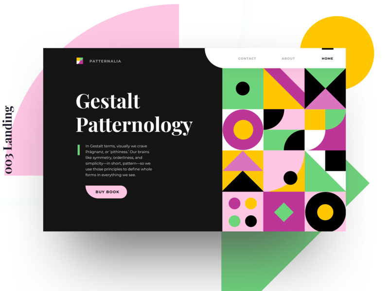 ✨Daily Design ✨ 003 Landing pattern design retro geometric design shapes colours playfair display rounded pattern geometric simple layout trendy illustration colourful clean design minimal challenge daily ui