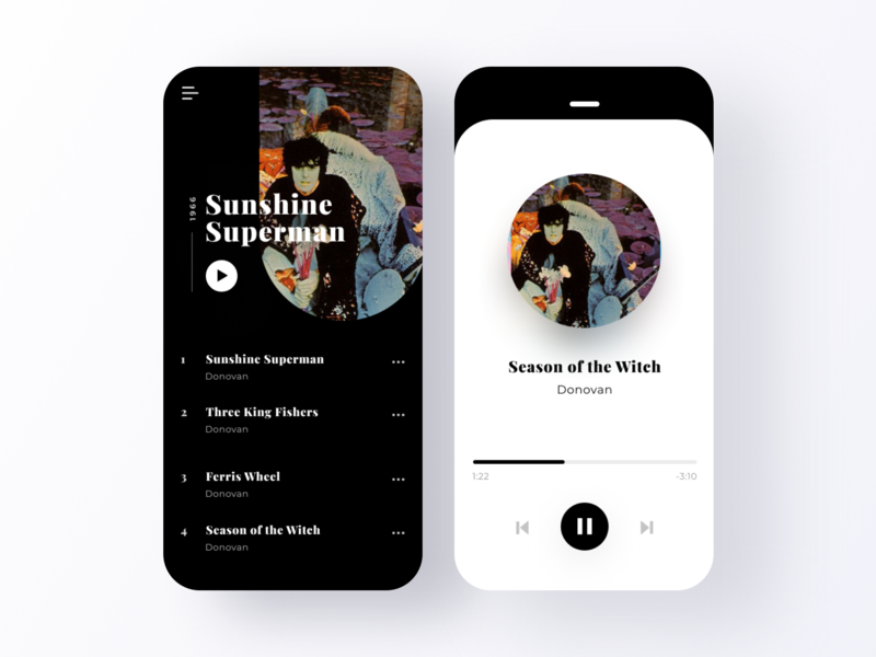 ✨Daily Design ✨ 009 Music Player rounded colours app black and white 100daysofui donovan listing music player music mobile app mobile trendy layout simple design minimal clean challenge daily ui