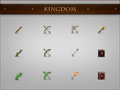 Kingdom 3 icons pixel kingdom wand nature bow spellbook