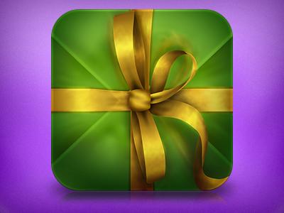 Gift icon ios ribbon golden gift
