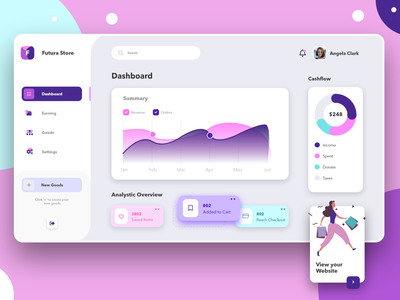 Web App - Online Store Dashboard Application clean analytics dashboard design ux ui illustration dashboardapp onlinestore dashboardui dashboard