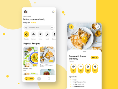 Mobile App - Food Recipe Application mobileapp minimal ux ui uiux mobile app mobile delicious eat design clean illustration cooking app cooking recipe app recipe food app food