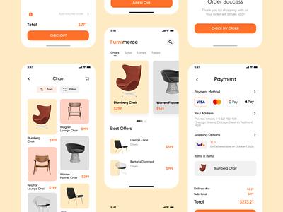 Furnimerce - Furniture Commerce App typography minimal ux design cleanui uidesign ui ux uiux app furniture figma