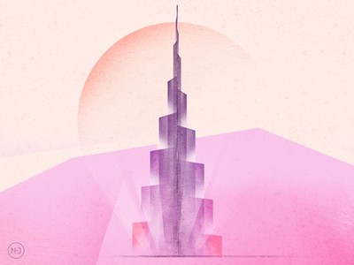 Burj Khalifa drawing procreate ipadpro ipad abu dhabi grain grain texture abstract tower uae dubai burj khalifa illustration