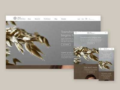 True Botanicals Home Page Responsive Website