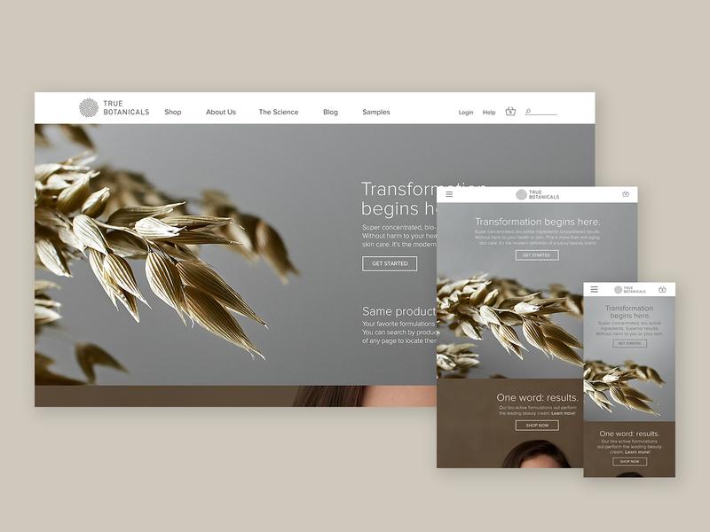 True Botanicals Home Page Responsive Website