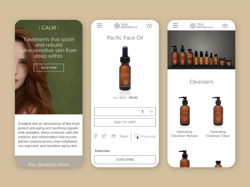 True Botanicals Mobile Website Screens