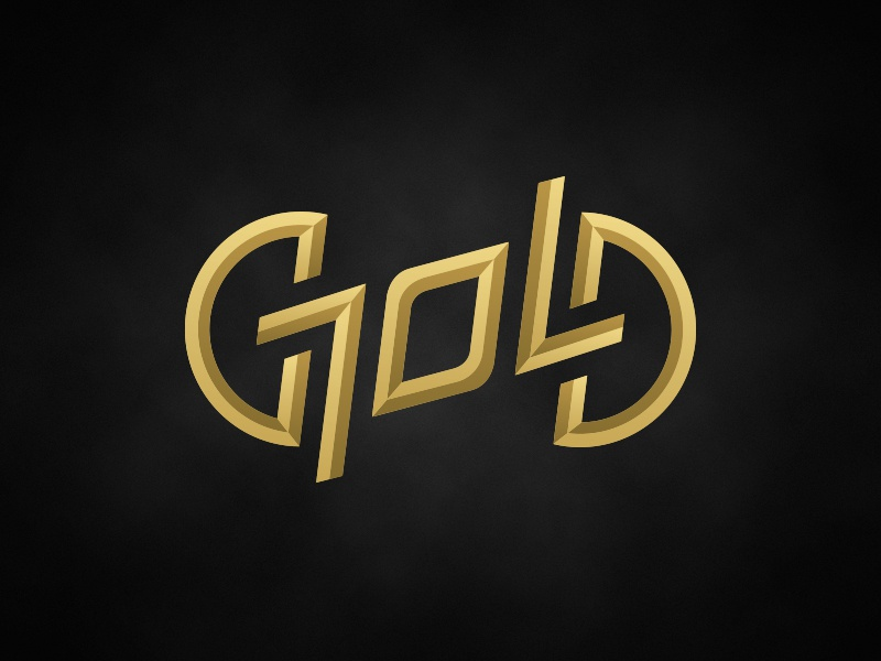 """Gold"" ambigram logo magician magic symmetry type typography gold logo ambigram"