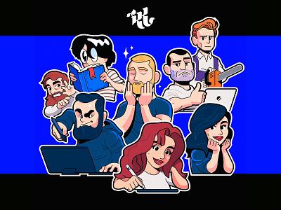 KK   Mail.ru Creative Team logo people portrait team character sticker design vector illustration
