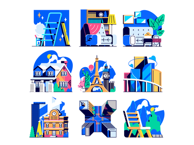 Color Palette Test urban chair statue of liberty eiffel tower city house building illustration