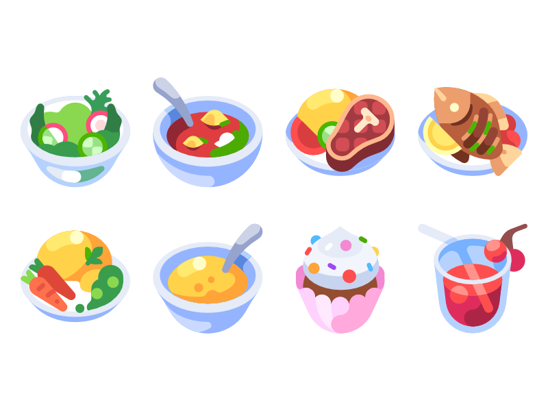 Recipes Icons by Viktor Salomakhin for Mail.ru Design on