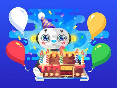 Happy Birthday Card (WIP) cake card birthday robot illustration