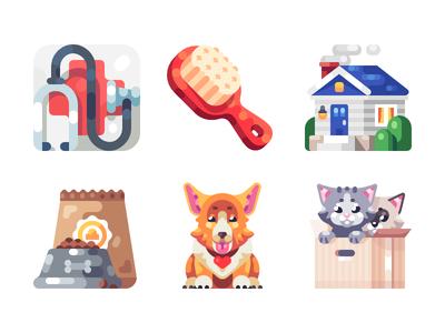 Pets Illustrations box food house home health animal cat dog pets illustration icon