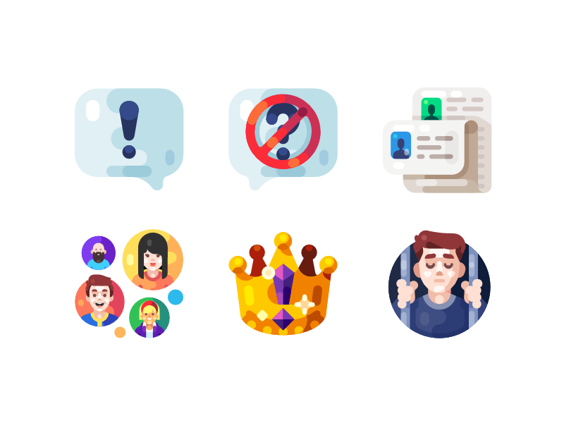 Q&A Illustrations avatar ban crown people user list question illustration icon