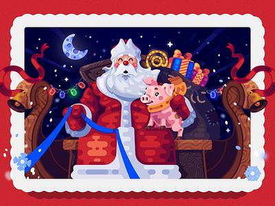 New Year 2019 Illustration present moon holiday pig xmas christmas santa claus santa ded moroz illustration