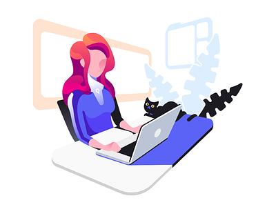 Atom Browser Illustration: Simplicity browser window notebook cat computer laptop woman illustration