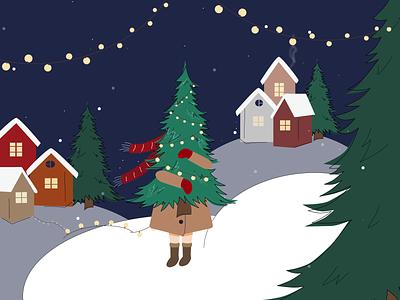 Christmas Tree Illustration vector christmas tree happynewyear christmas card christmas 2d illustration art illustration character art