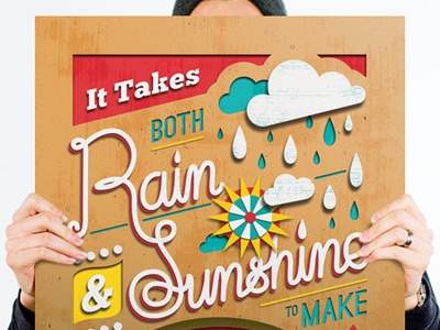 Help Ink / Rain & Shine Print help ink print paper craft rain sunshine rainbow typography hand lettering illustration haiyan philippines