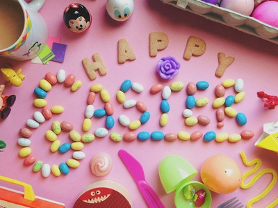 Easter! typography easter eggs candy cookie coffee peanuts minnie donald