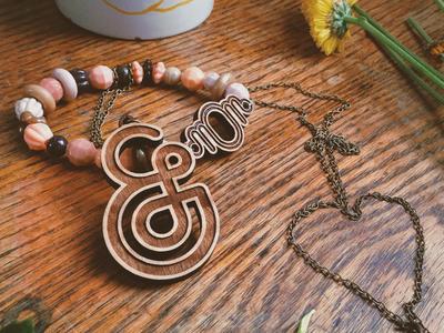 Mom-persand ampersand mom necklace bracelet wood laser cut