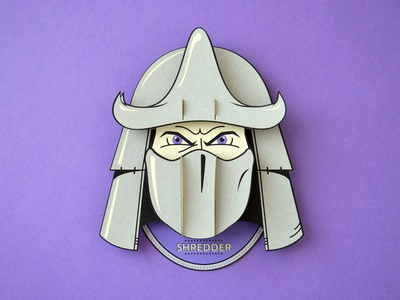 Super Headhunters - Shredder - Paperkraft paper kraft paper craft kwik-krafts laser cut screenprint tmnt shredder