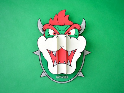 Super Headhunters - Bowser - Paperkraft paper kraft paper craft kwik-krafts laser cut screenprint mario bros bowser