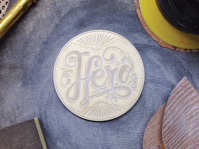 Hero - Engraved Wooden Coaster Process typography hand lettering hero dad process wood laser sanding