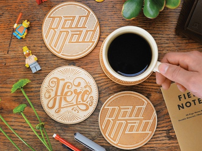 Engraved Wooden Coasters rad dad hero laser cut wooden coasters typography hand lettering