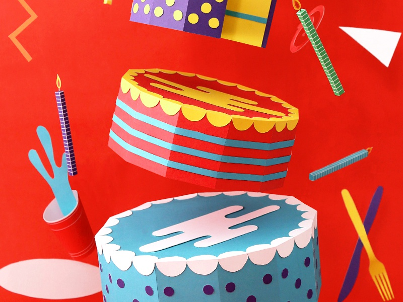 Help Ink / Paper Party paper craft cut fold cake party candles sprinkles help ink