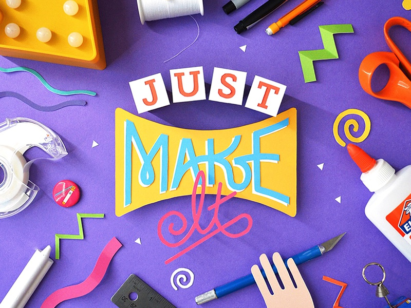 "Just ""Make"" It paper craft papercraft fold cut glue kwik-krafts typography hand lettering"