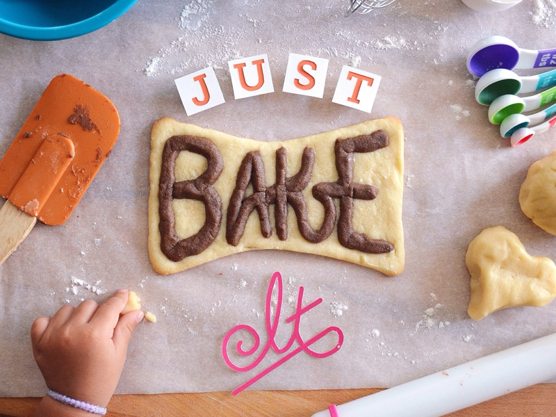 "Just ""Bake"" It hand lettering typography kwik-krafts glue cut fold papercraft craft paper food baking cookie"