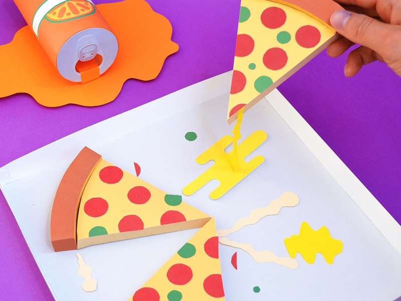 Kwik-Krafts / 8.10.14 / Paper Pizza Party pizza soda orange crush teenage mutant ninja turtles kwik-krafts glue cut fold papercraft craft paper