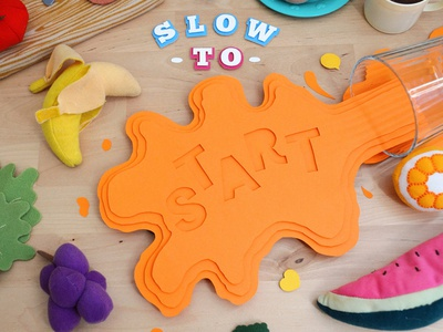 Slow & Low typography kwik-krafts glue cut fold papercraft craft paper orange juice