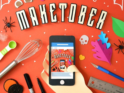 Maketober paper craft papercraft fold cut glue kwik-krafts typography iphone instagram october