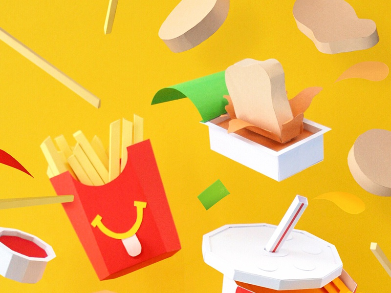 Dip it good. kwik-krafts glue cut fold papercraft craft paper mcnugget fries ketchup sweet  sour sauce