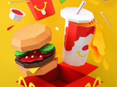 Happy Snacks ketchup fries paper craft papercraft kwik-krafts soda happy meal hamburger