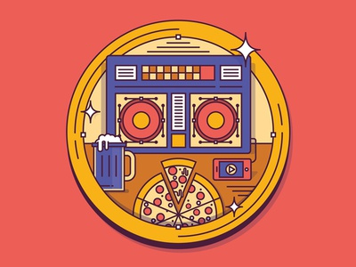 The Process of Pizza pizza boombox purple drank illustration phone