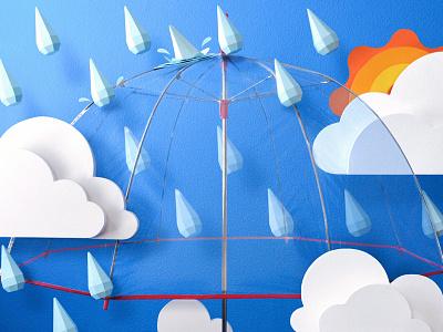 Paper Rain kwik-krafts papercraft craft paper rain umbrella clouds sun