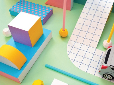 Abstract City grid shapes abstract paper craft papercraft kwik-krafts