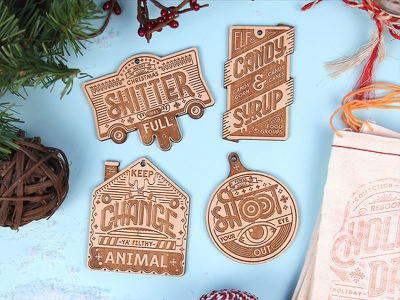 Holly Day Ornaments christmas movies holiday ornaments laser wood