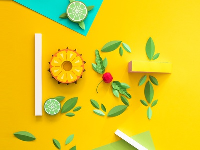 Lost leaves fruit lettering papercraft paper