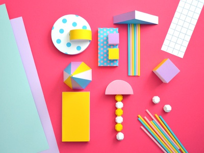 Get It grid straws shapes lettering papercraft paper