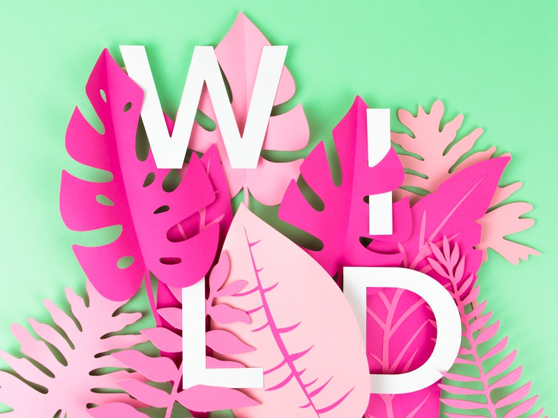 Wild wild plants leaves lettering papercraft paper
