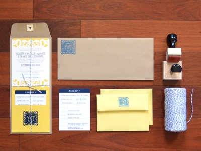 Wedding Invite - Overall floral monogram twine yellow blue wedding vintage invitation stamp