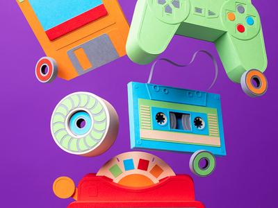 "OFFF Festival ""Totem"" Book inspiration festival floppy disk controller video games bearings wheel skateboard cassette view-master retro illustration kwik-krafts paper craft paper"