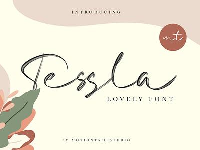 Tessla Script Font flat design website ux lettering typography type ui logo app